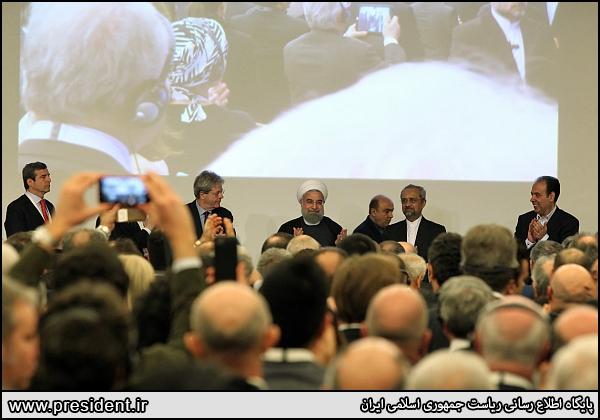 تصاویر رئیس جمهور در نشست تجاری ایران و ایتالیا