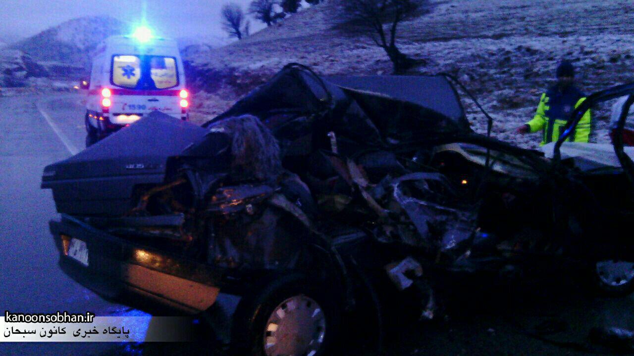 سه کشته و یک زخمی حاصل تصادف یک دستگاه پژو با کامیونی در محور خرم آباد- کوهدشت+عکس